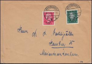 444-445 Aufdruck 30 Juni 1930 als Satz-FDC mit Ersttagsstempel BERGEDORF 30.6.30