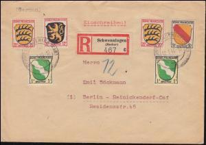 1ff Freimarken Wappen-MiF R-Brief SCHWENNINGEN (NECKAR) 12.3.46 nach BERLIN 21.3.