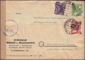 Zensur SBZ 167+168+169 Bezirkshandstempel-MiF 14 Großenhain 6.7.48 in die Bizone