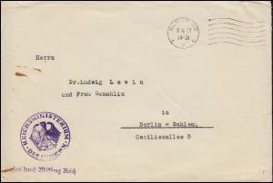 Frei durch Ablösung Reich Reichsministerium des Innern BERLIN 11.6.1929