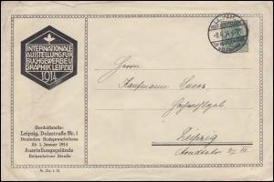 85Ia Germania EF auf Schmuck-Brief SSt LEIPZIG Ausstellung Buchgewerbe 9.4.1914