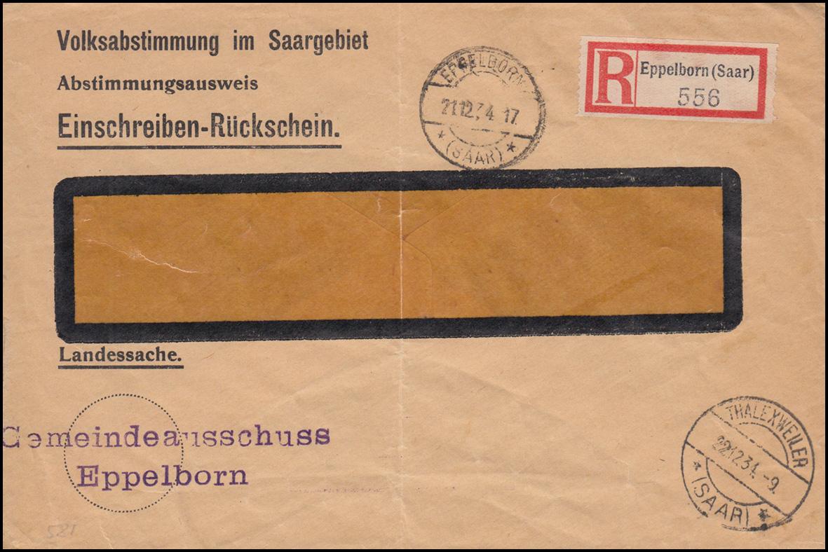 Landessache Volksabstimmung im Saargebiet R-Brief EPPELBORN 21.12.1934 0