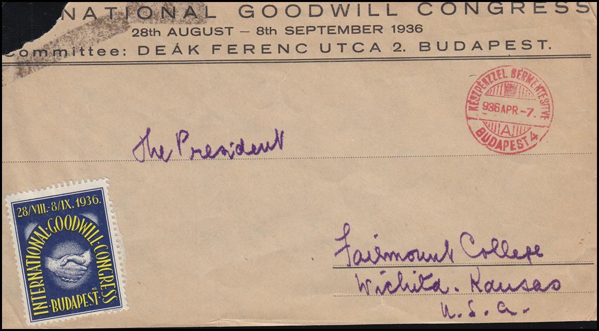 Briefvordrseite NATIONAL GOODWILL CONGRESS mit SSt BUDAPEST 7.4.1936 in die USA 0