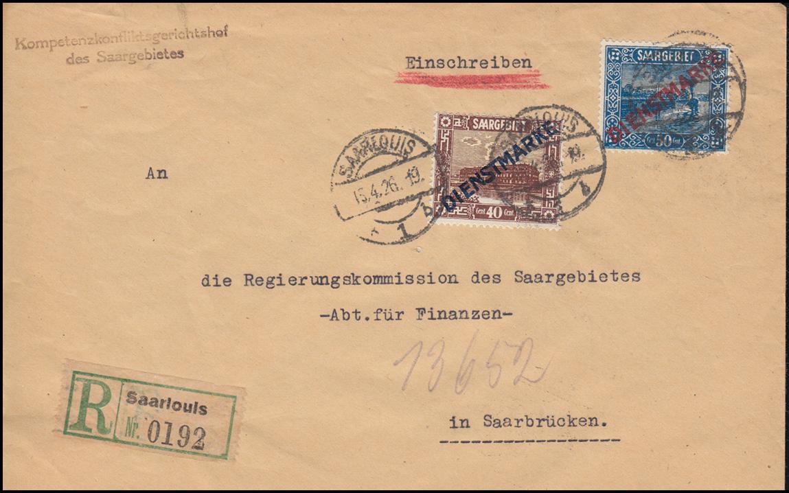 Dienstmarken 8I+9I Aufdruckmarken-MiF auf Orts-R-Brief SAARLOUIS 15.4.1926 0