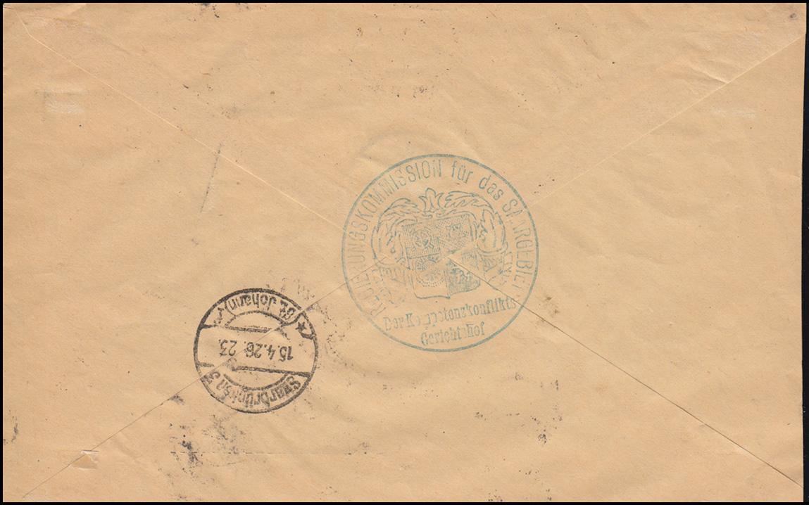 Dienstmarken 8I+9I Aufdruckmarken-MiF auf Orts-R-Brief SAARLOUIS 15.4.1926 1