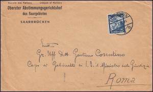 568 Saarabstimmung 25 Pf. EF auf Brief Abstimmungsgerichtshof SAARBRÜCKEN 2.3.36
