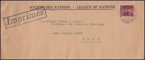 Völkerbund (SDN) 28x Tellknabe als EF auf Drucksache 25.6.1930 nach Basel