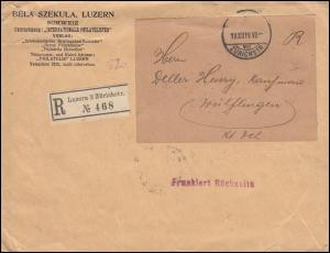Schweiz 146 Friedensvertrag mit Privataufdruck MeF R-Brief LUZERN 19.12.1919