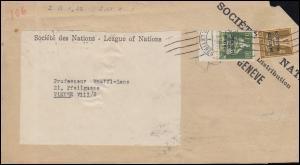 Völkerbund (SDN) 9 Sitzende Helvetia + 26 Tellknabe Briefstück GENF 1930