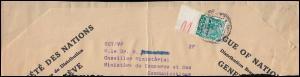 Völkerbund (SDN) 43 Landschaften mit Unterrand auf Briefstück GENF Mai 1935