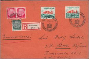 750 Helgoland mit Hindenburg-Frankatur MiF auf R-Brief SSt WIESBADEN 4.9.1940