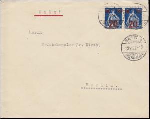 Schweiz 161 Sitzende Helvetia 20 auf 25 C Paar MeF Auslands-Brief BASEL 23.6.22