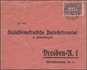 219 Ziffer 100 Mark als EF auf Brief BERLIN NW REICHSTAG 21.3.1923 nach Dresden