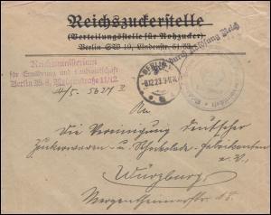 Frei laut Ablösung Reich Brief Reichsministerium Landwirtschaft BERLIN 8.12.23