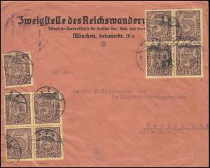 33c Dienstmarke Farbe c mehrfach auf Dienst-Brief MÜNCHEN 17.1.23, INFLA-geprüft