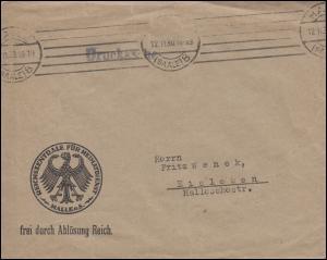 Frei durch Ablösung Reich Reichszentrale für Heimatdienst HALLE / SAALE 12.11.30