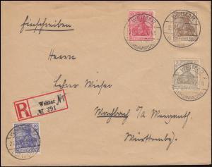 83I Germania-Mischfrankatur auf R-Brief WEIMAR-NATIONALVERSAMMLUNG 26.6.1919