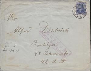 Germania 20 Pf. USA-Brief NEUKÖLLN 26.2.17 mit Stempel Zurück / Keine Verbindung