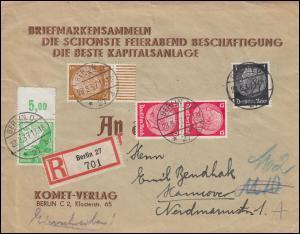 529 Flugpost mit OR und Hindenburg-Franktur auf R-Drucksache BERLIN 28.8.37