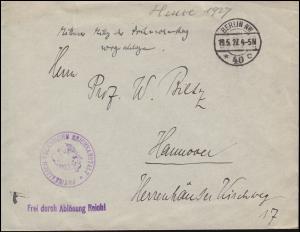 Frei durch Ablösung Reich Physikalisch-Technische Reichsanstalt BERLIN 19.5.1927