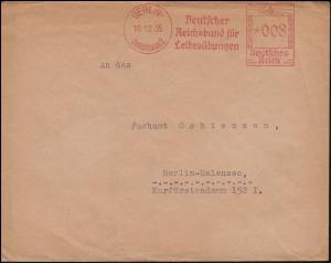 AFS Deutscher Reichsbund für Leibesübungen BERLIN 1812.1935, Orts-Brief
