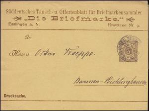 Württemberg PU 9 Ziffer 3 Pf. braun Drucksache Die Briefmarke ESSLINGEN 15.9.94