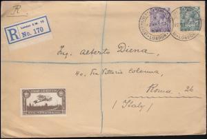 Großbritannien 132+133 König George V. Ausstellungs-R-Brief SSt LONDON 22.5.23