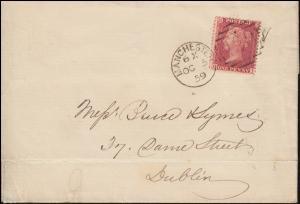 Großbritannien 10 Bz Königin Victoria auf Brief MANCHESTER 5.10.1859 nach Dublin