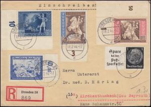820-822 Postkongress mit 777 und Hindenburg-ZD W 99 MiF R-Brief DRESDEN 18.2.44