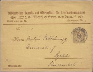 Württemberg PS 2 Ziffer Drucksache Die Briefmarke ESSLINGEN-BAHNHOF 17.1.1895
