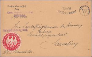 Frei durch Ablösung Reich Deutsche Gesandtschaft in Prag Brief BERLIN 11.10.30