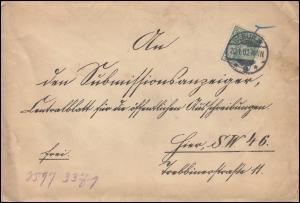 55 Germania REICHSPOST als EF auf Ortsbrief Auswärtiges Amt BERLIN 20.1.1902