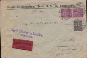 71+73 Dienstmarken als MiF auf Eilbrief Reichsarbeitsministerium BERLIN 26.2.23