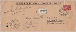 Völkerbund (SDN) 17x Tell mit Armbrust EF auf Brief GENF 12.3.1931 nach SARNEN