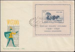 Polen Block 22 Polnische Post auf Blanko-FDC ESSt WARSCHAU 12.12.1958