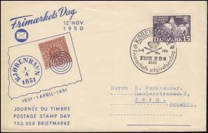 326 Dänische Briefmarken 15 Öre auf Schmuck-FDC ESSt KOPENHAGEN 1.4.1951