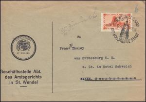 Dienst 27 Freimarke mit Aufdruck EF Brief Amtsgericht SSt ST. WENDEL 24.10.1933