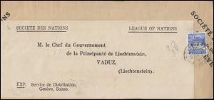 Völkerbund (SDN) 46 Landschaften auf Briefstück GENF 14.9.1934