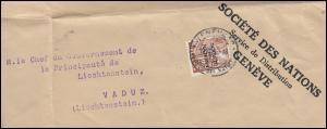 Völkerbund (SDN) 45 Landschaften auf Briefstück GENF 17.8.35