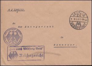 Frei durch Ablösung Reich Reichsgericht Brief SSt LEIPZIG MESSESTADT 10.5.1933
