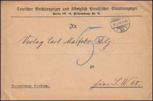 Dienstsache Deutscher Reichsanzeiger Preußischer Staatsanzeiger BERLIN 28.7.1910