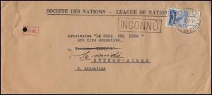 Völkerbund (SDN) 46 Landschaften mit UR auf Brief GENF 13.10.37 nach Argentinien