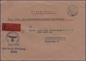 Frei durch Ablösung Reich Reichspatentamt BERLIN 4.6.43 als Orts-Wertbrief