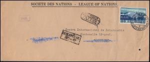 Schweiz 321 ILO-Gbäude als EF auf Brief GENF 25.1.1941 mit Zensur nach Barcelona