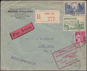 Erstflug Europa-Kongo-Madagaskar R-Brief PARIS 5.11.35 nach St. Denis / Reunion