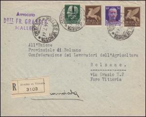 643+644 Aufdruckmarken mit 328 Flugpost R-Bf. MALLES VENOSTA 14.7.44 nach Bozen