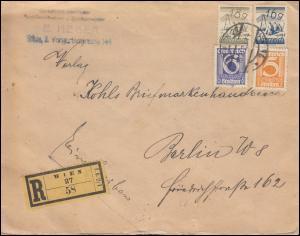 451+452+457+458 Freimarken-Frankatur R-Brief WIEN 16.11.25 nach BERLIN 17.11.25