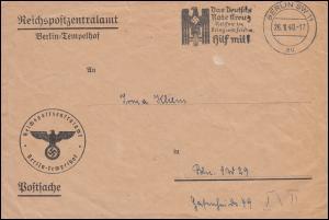 Postsache Reichspostzentralamt Berlin-Tempelhof Orts-Brief BERLIN 26.1.1940