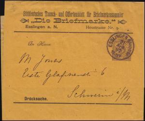 Württemberg PS 2 Ziffer Streifband Die Briefmarke ESSLINGEN-BAHNHOF 21.1.1897
