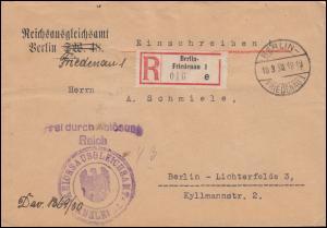 Frei durch Ablösung Reichsausgleichsamt R-Brief BERLIN-FRIEDENAU 10.3.1930